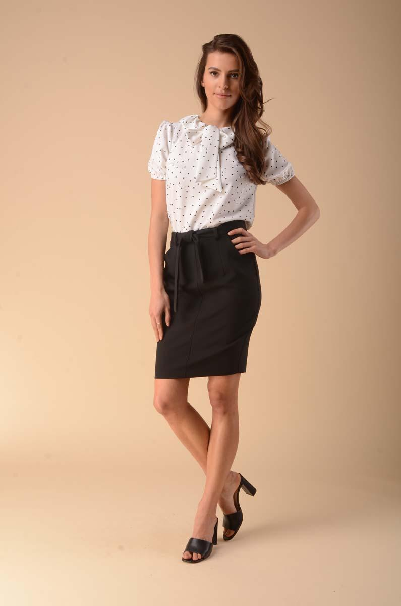 Pencil skirt with a decorative belt - black