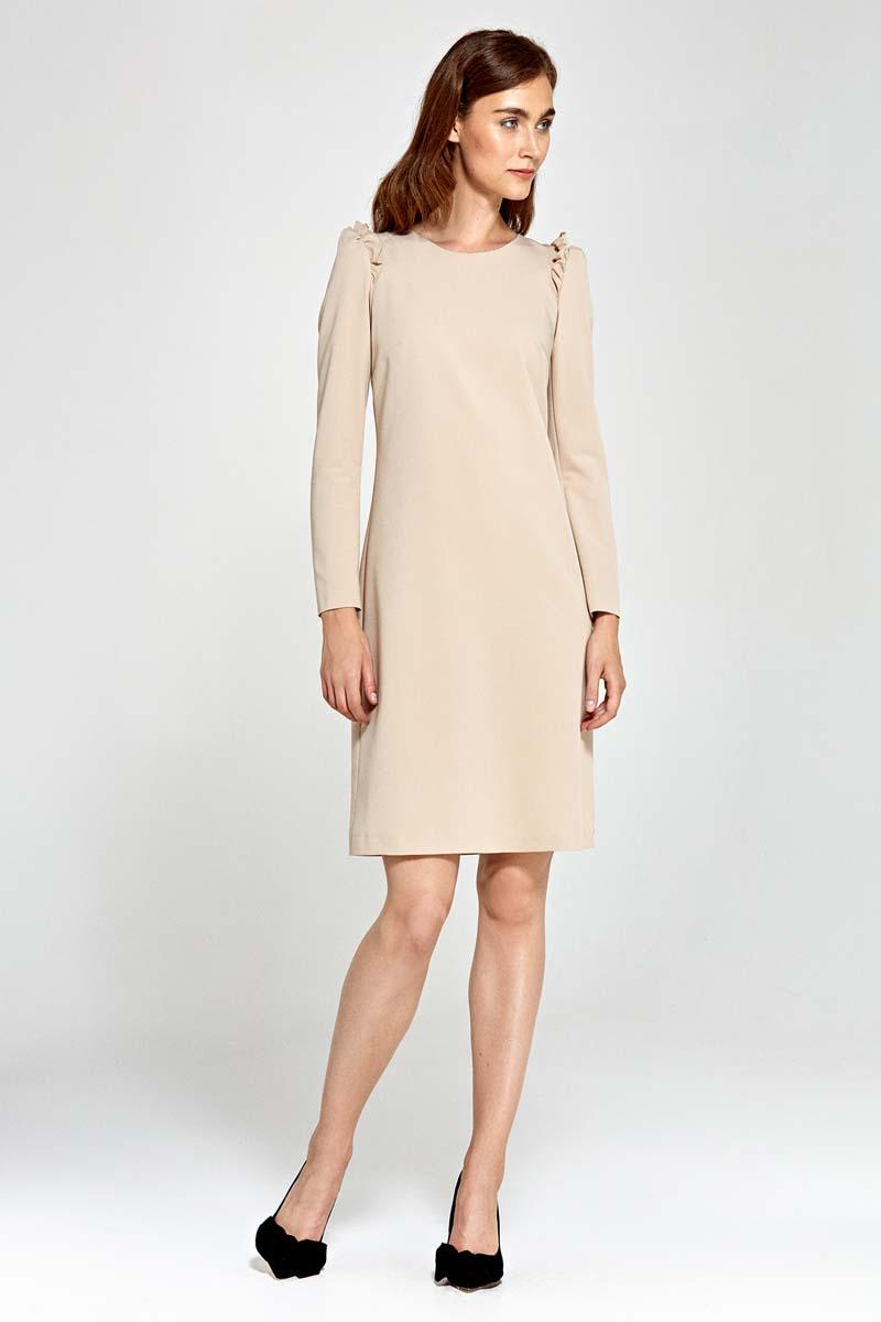 Beige Flared Dress with Frills on The Shoulders