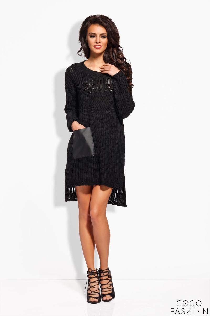 Black Knitted Tunic With Leather Pocket