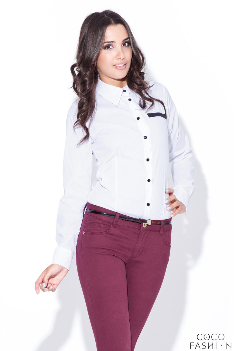 White Collared Shirt with Layered Skirt
