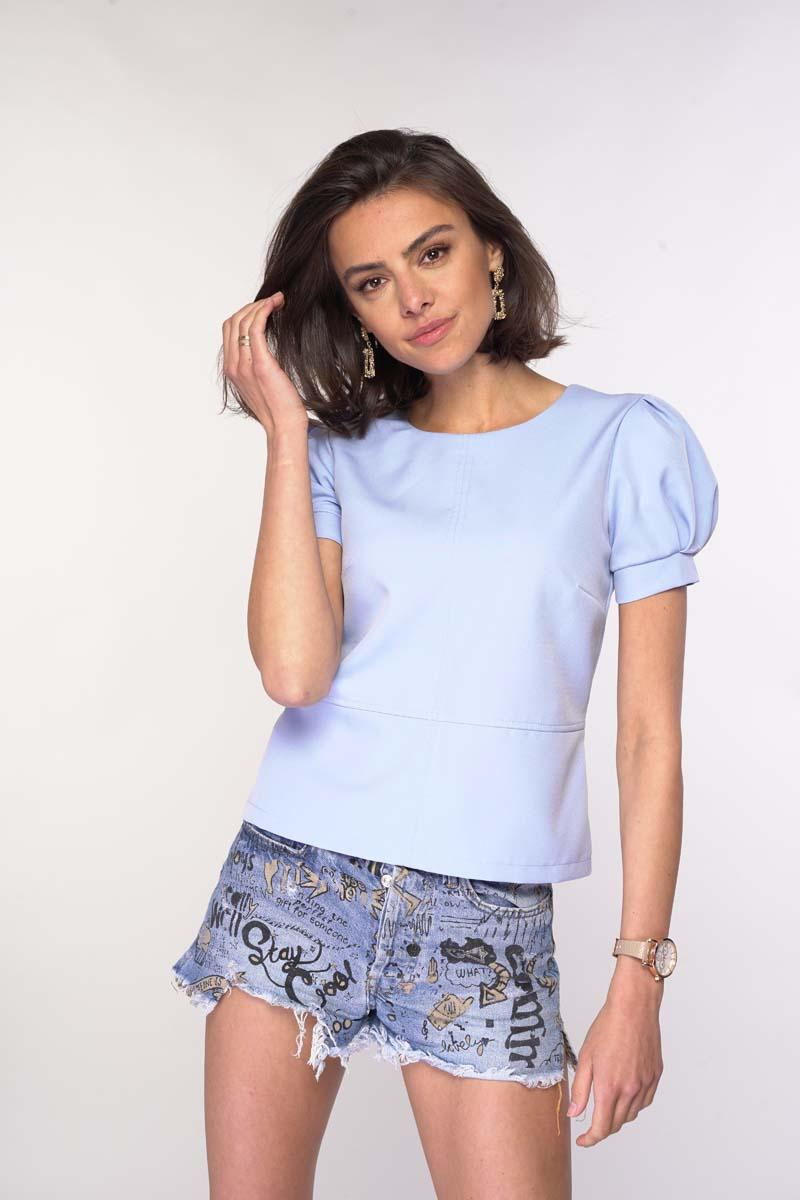 Blouse with Basque and Puffed Sleeves - Blue