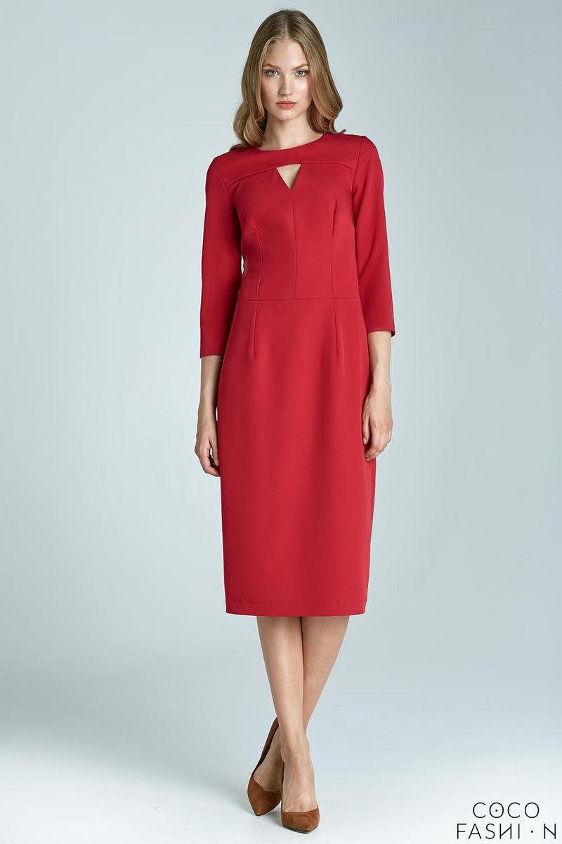 Red Elegant Midi Dress with Cut Out Detail