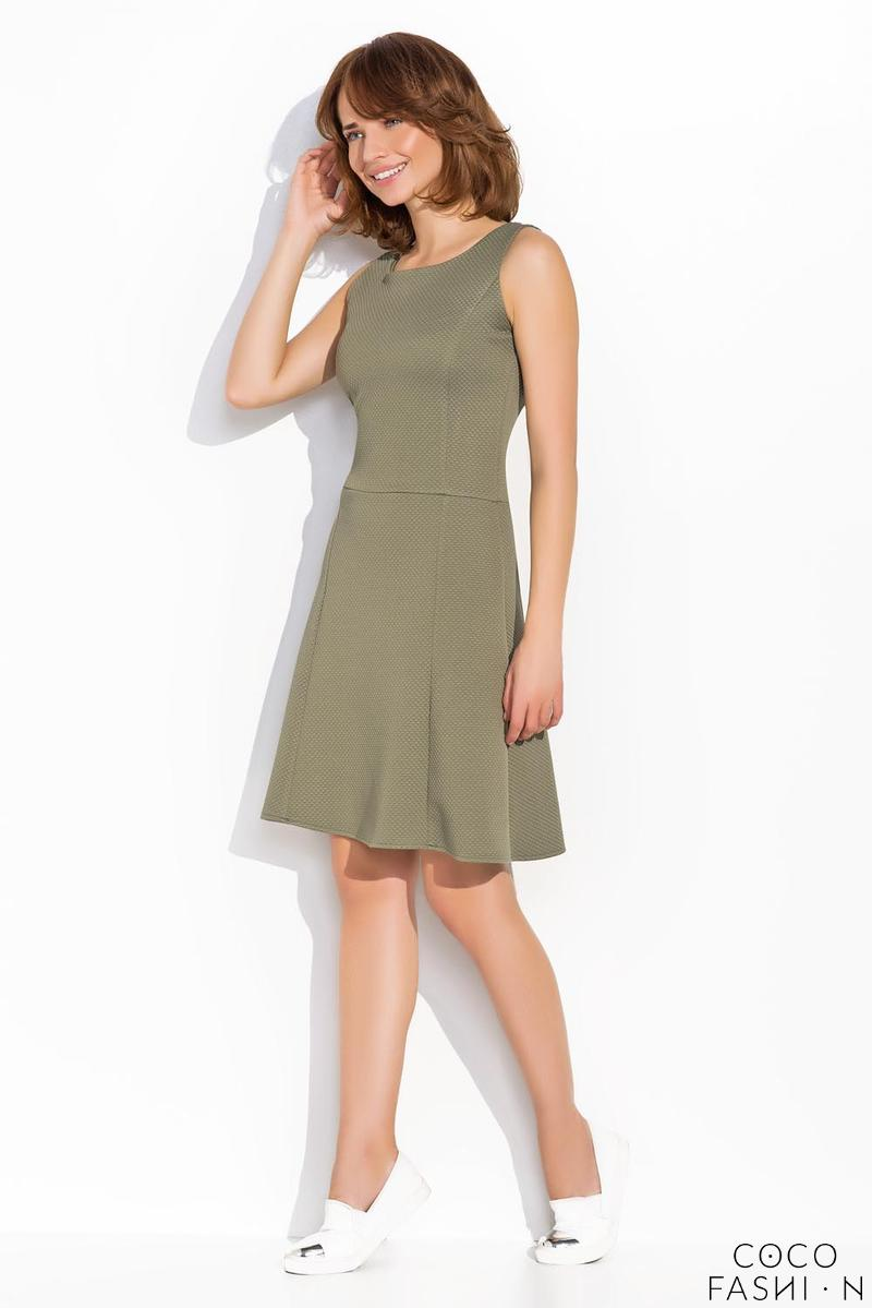 Olive Green Sleeveless Classic Round Neck Dress
