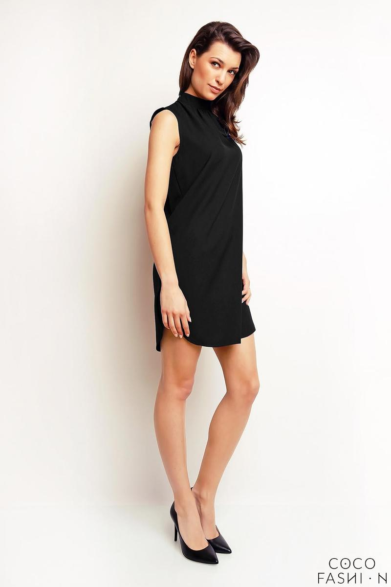 Black Sleeveless Tourtleneck Mini Dress