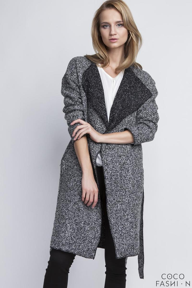 Grey Stylish Fall Coat with Belt and Big Collar