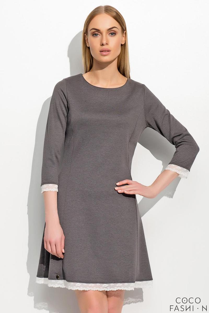 Dark Grey Flared Retro Style Dress with Lace