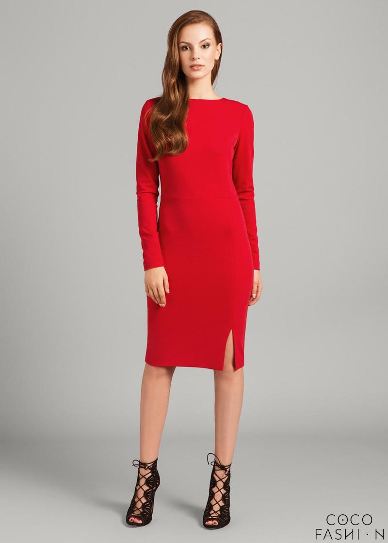red-fitted-long-sleeves-dress