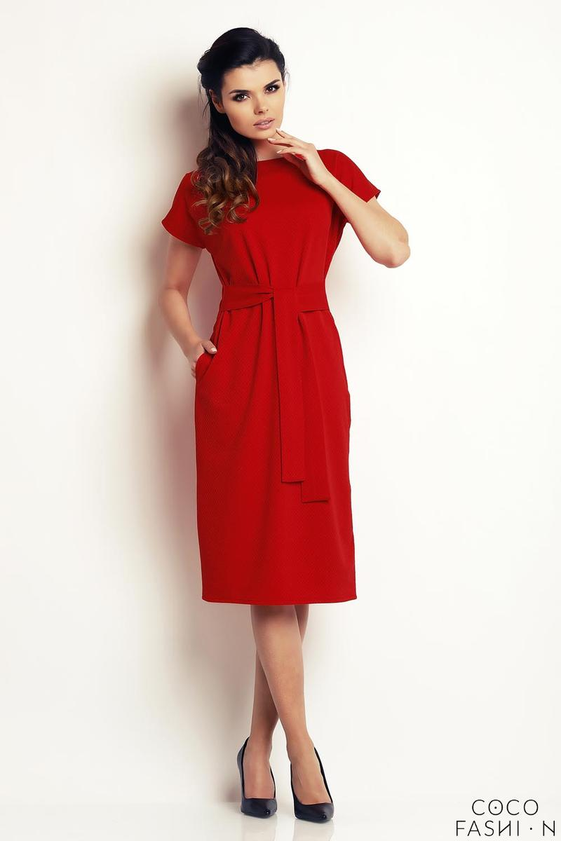 red-classic-belted-midi-dress