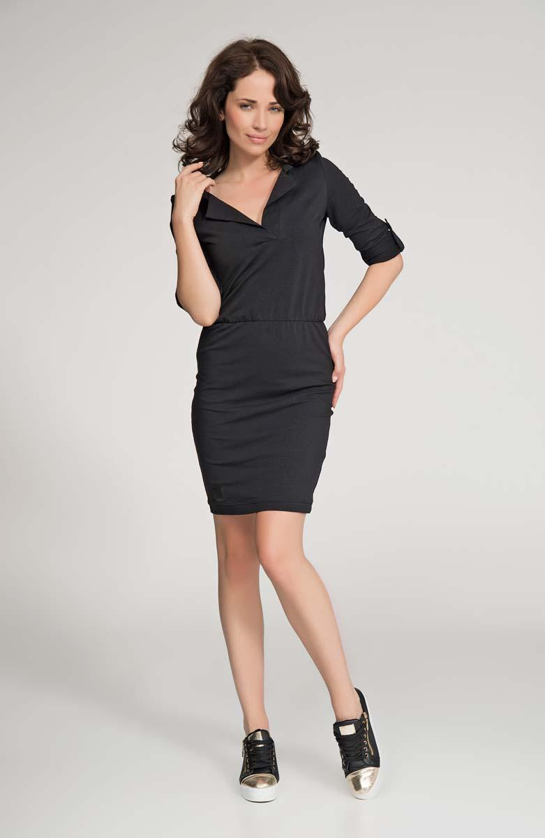 Black Polo Collar Fitted Mini Dress
