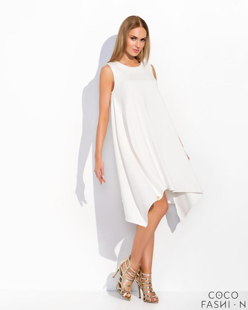 Ecru Sleeveless Asymetrical Cut Chic Dress