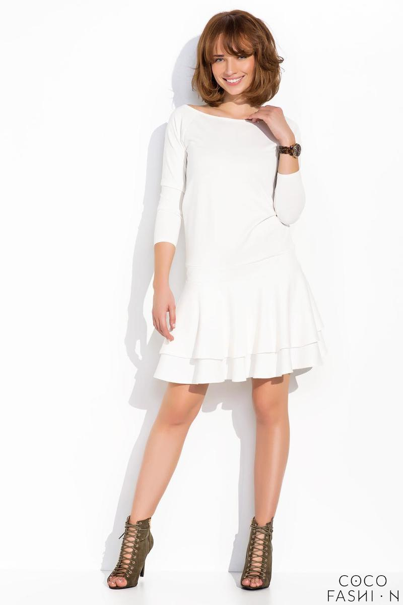 Ecru Light Pleats Mini Casual Dress