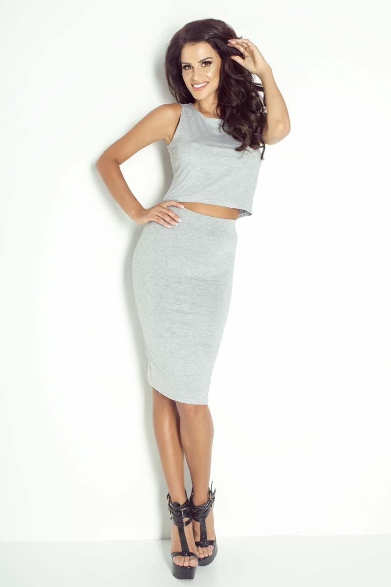 Grey Pencil Bodycon Midi Skirt