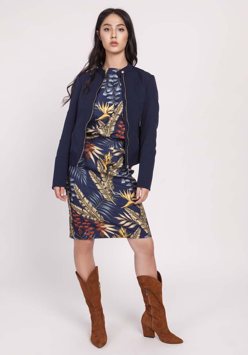 Navy Short Zipped Jacket with Stand-up Collar