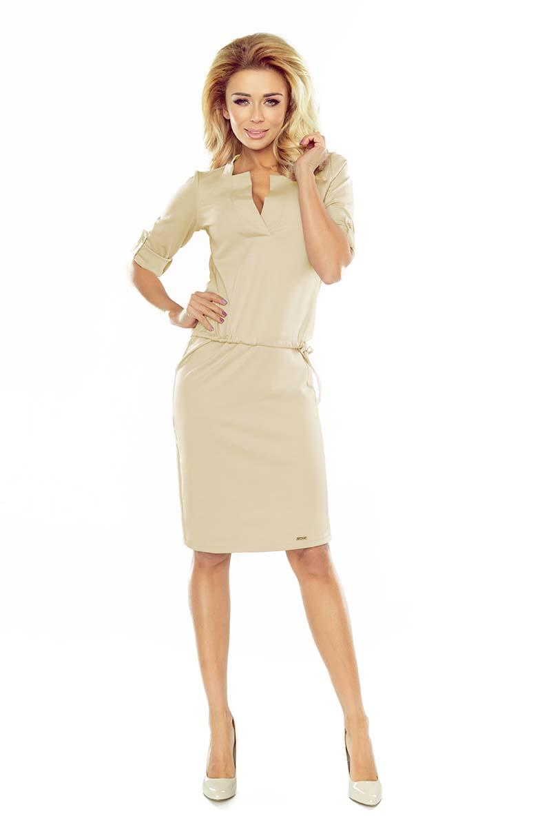 Beige Pencil Dress with Stand-up Collar