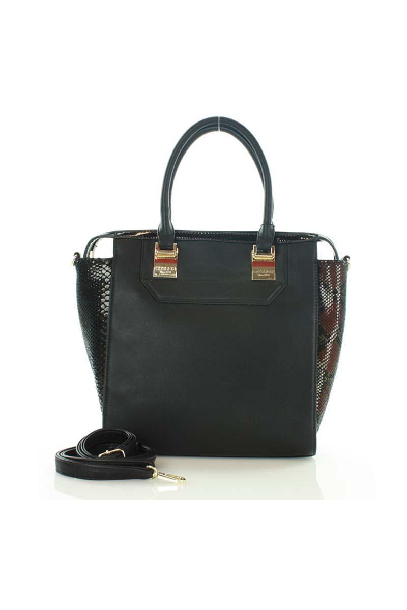 Black Elegant Snake Skin Imitation Hand/Shoulder Bag