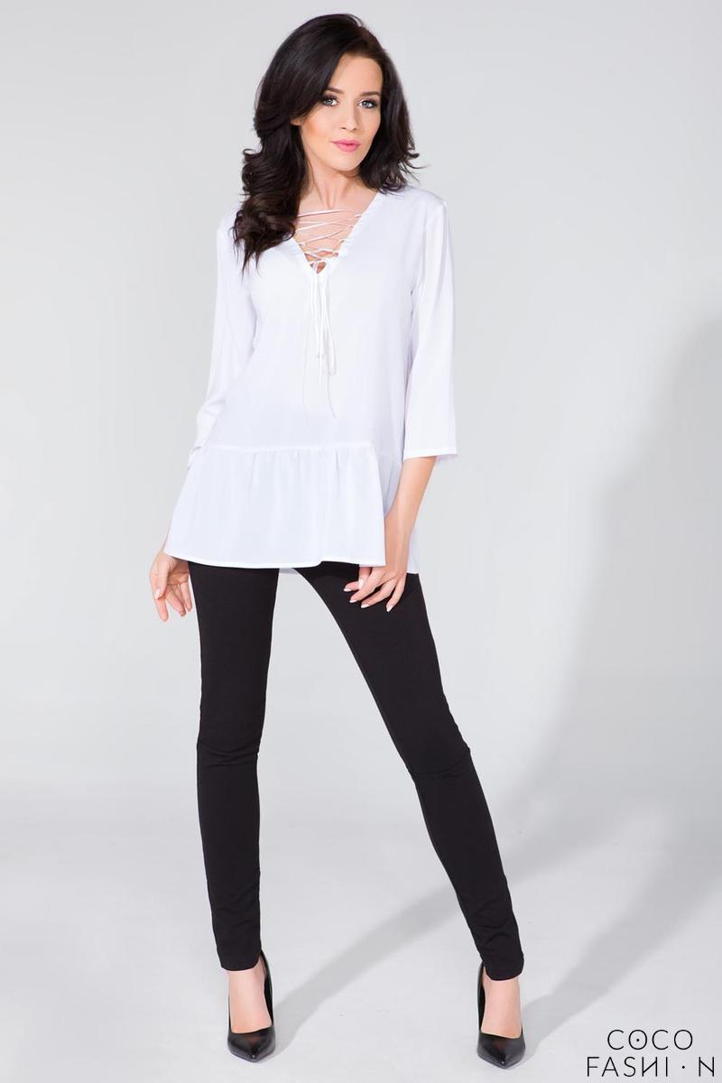 White Frilled Lace-up Front Blouse