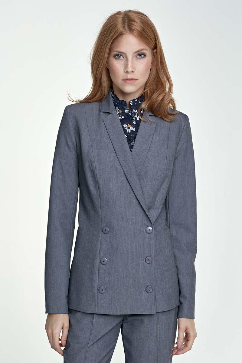 Grey Doublebreasted Classic Ladies Blazer