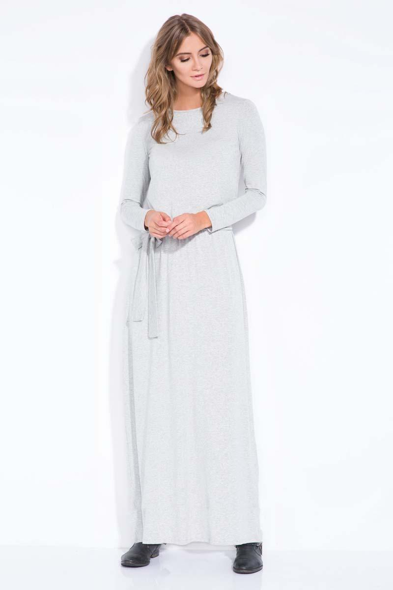 Light Grey Casual Fit Belted Maxi Dress