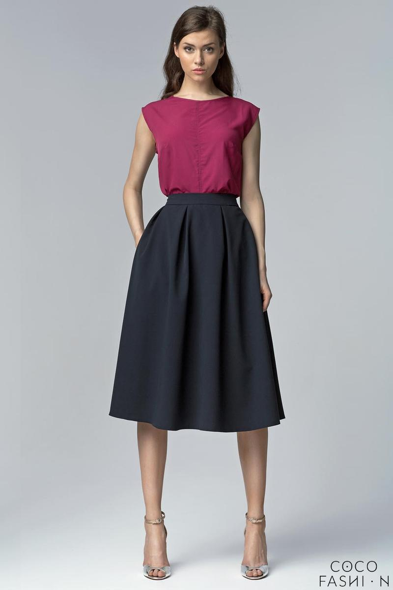 Dark Blue Retro Style Flared Light Pleats Midi Skirt with Pockets