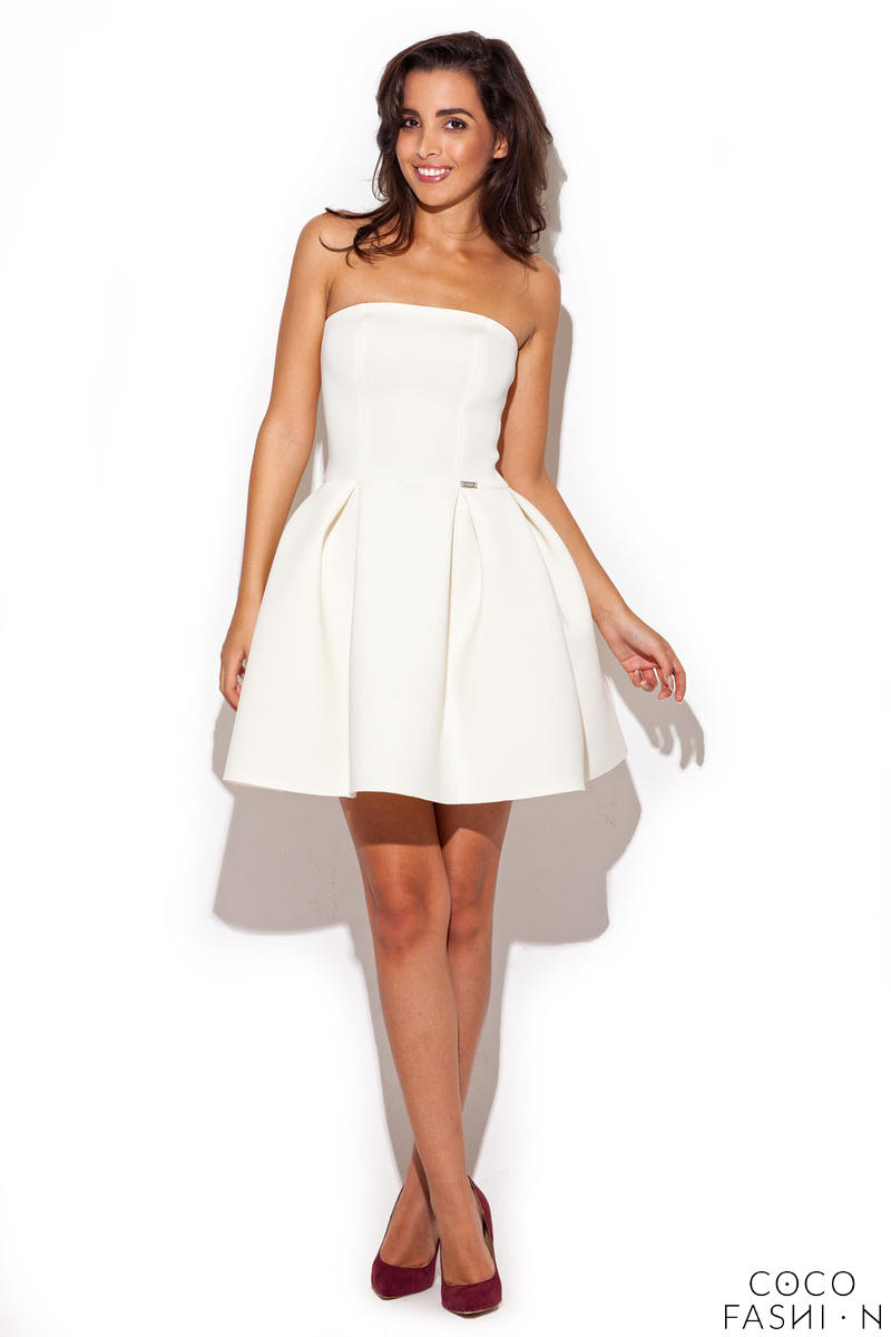 Ecru Bandeau Dress with Pleated Skirt
