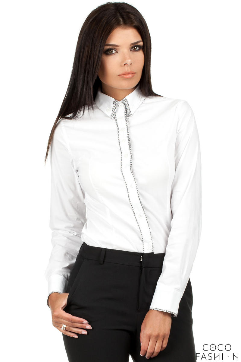 white-dapple-collar-office-shirt