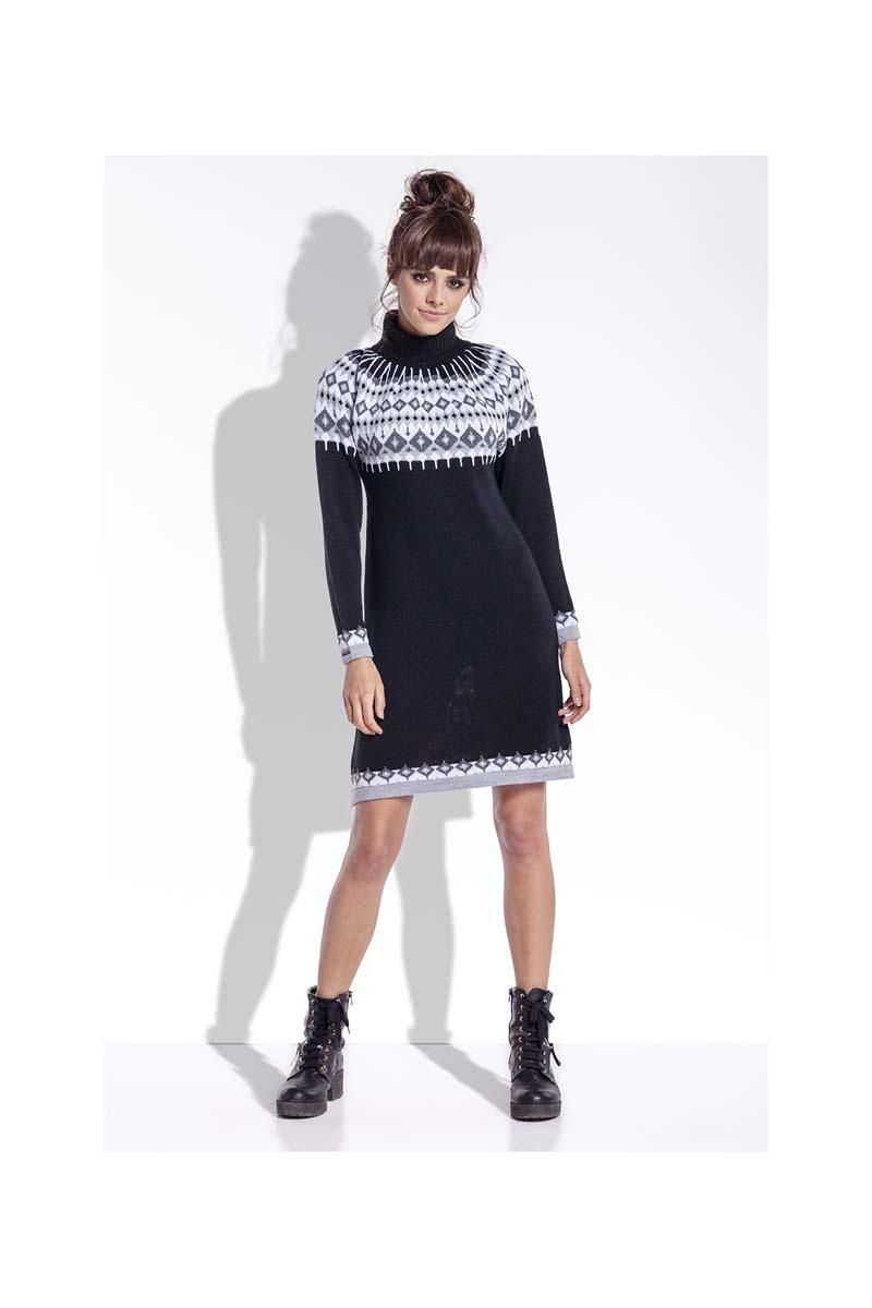 Black Knitted Scandinawian Patterns Dress