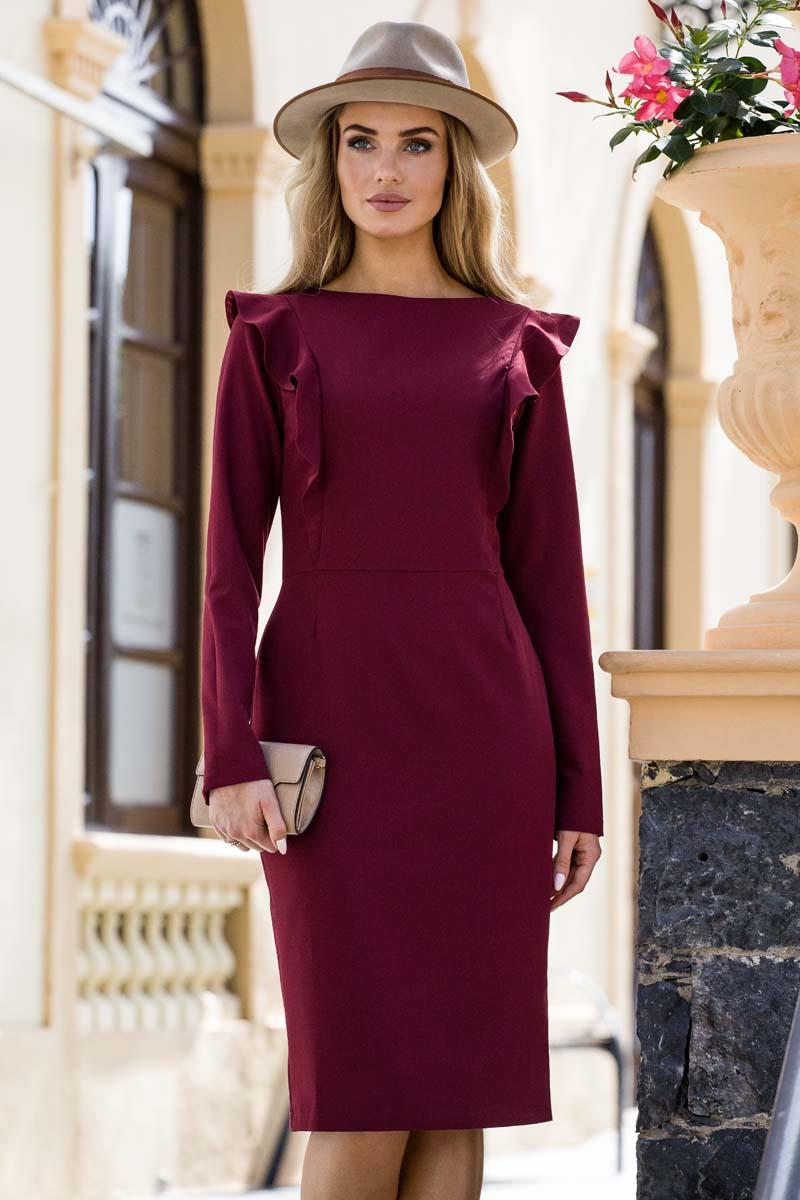 Maroon Beige Pencil Dress with Frills