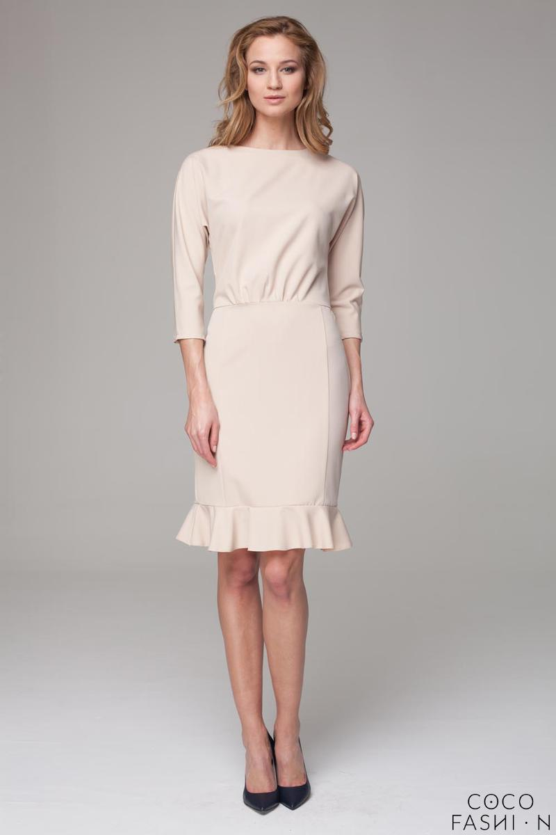 Beige 3/4 Sleeves Frilled Midi Dress