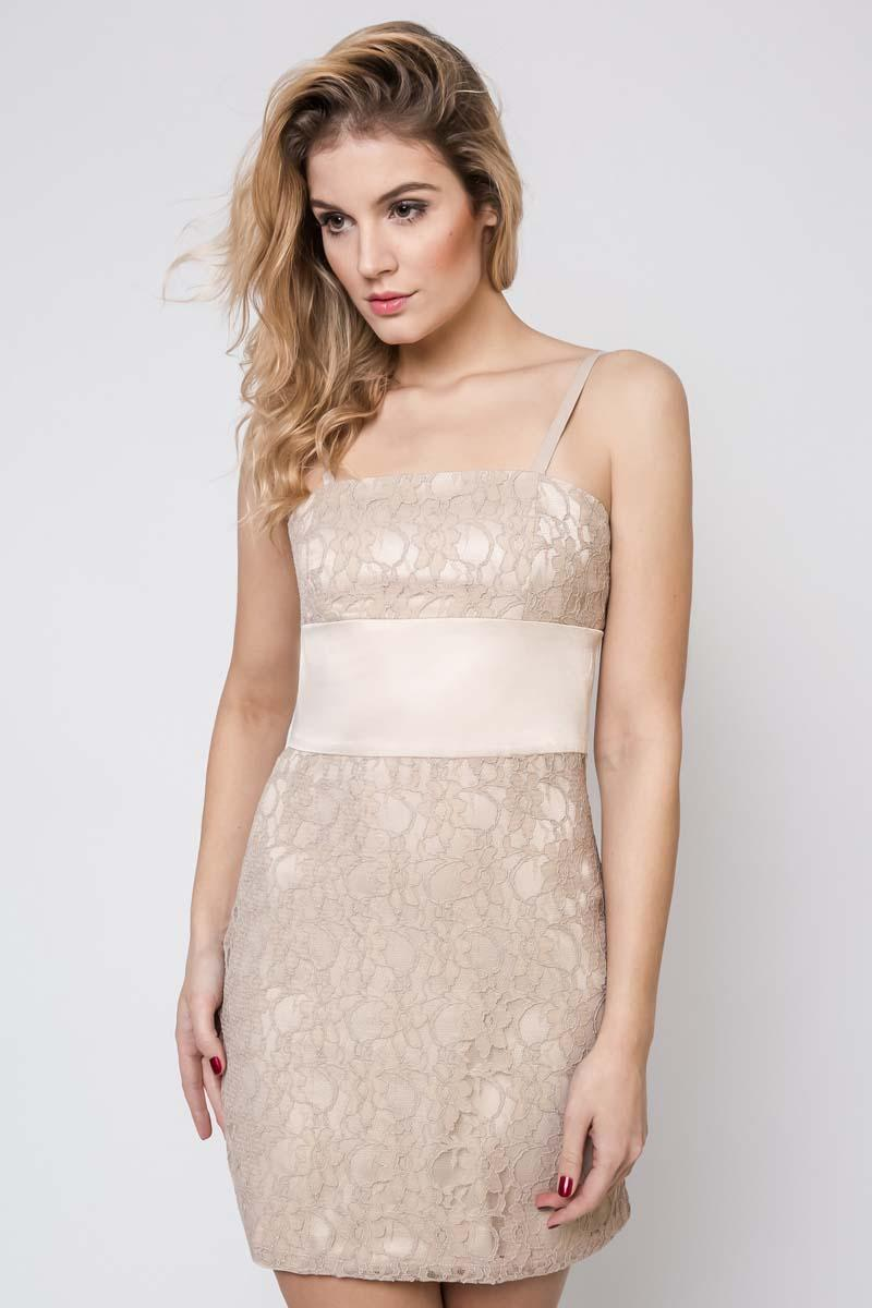 Beige Lace Dress with Satin Waist Panel
