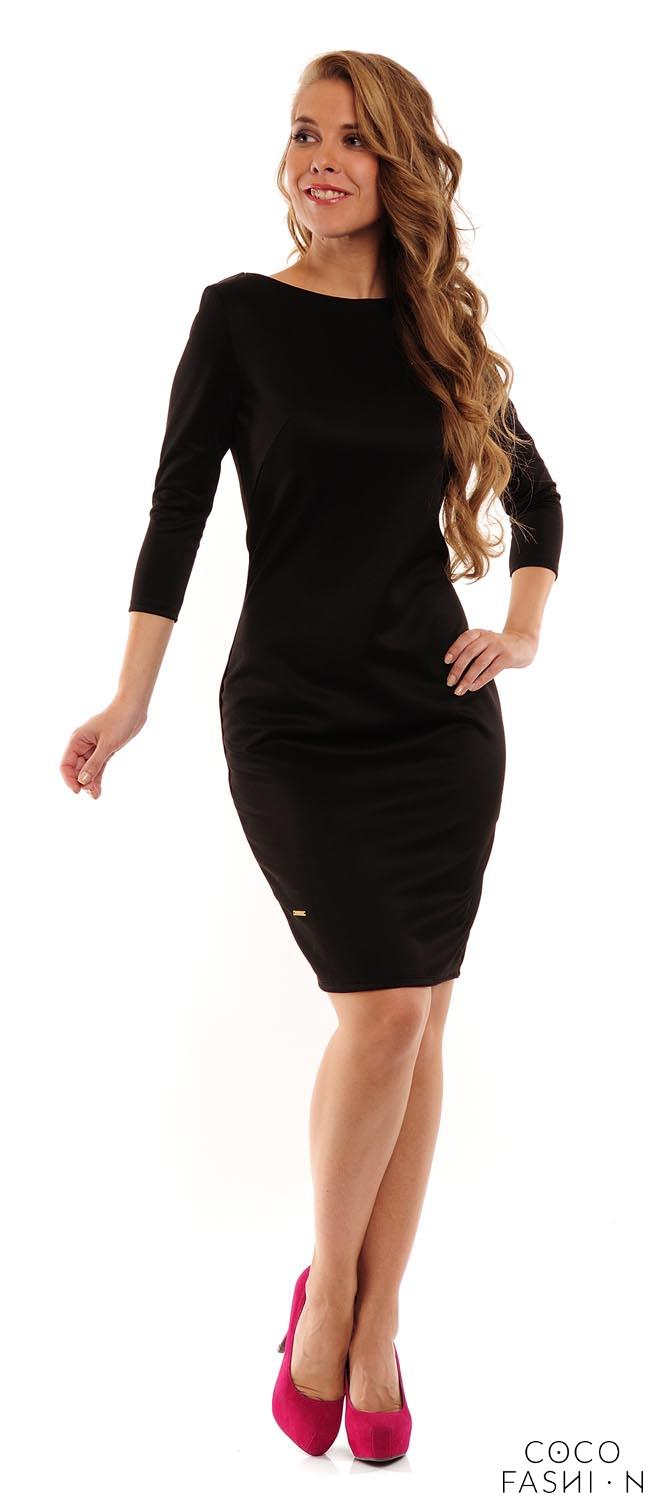 Black Classic Plain 3/4 Sleeves Dress