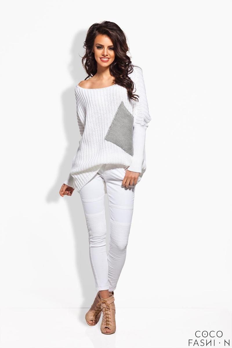 White Oversized Sweater with Big Chest Pocket