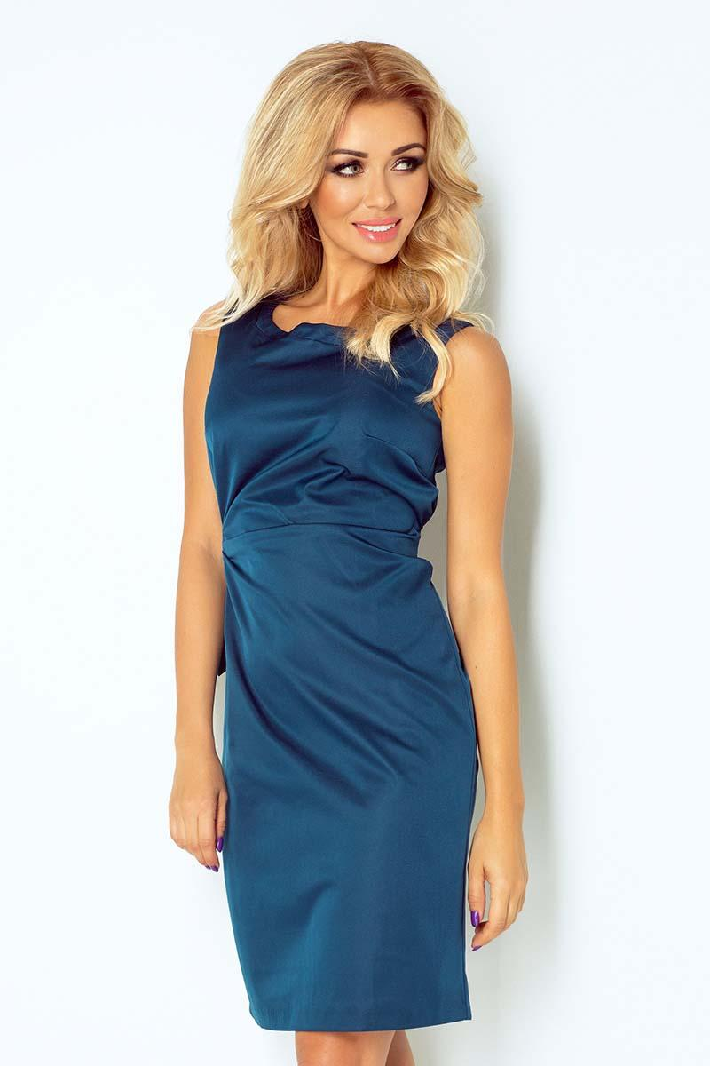 Blue Simple Coctail Dress with Sash at The Back