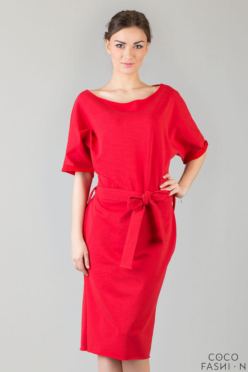 red-loose-neckline-self-tie-belt-casual-dress