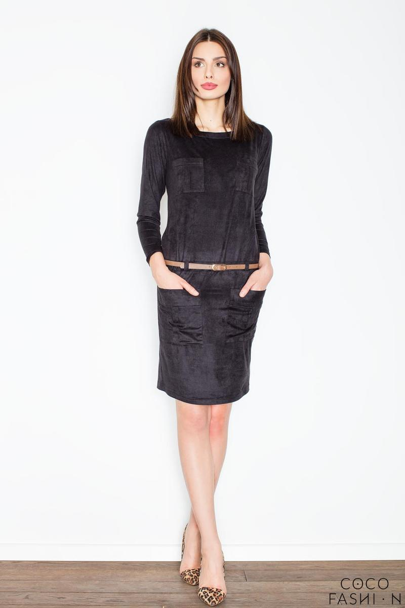 Black Office Style Dress with Pockets