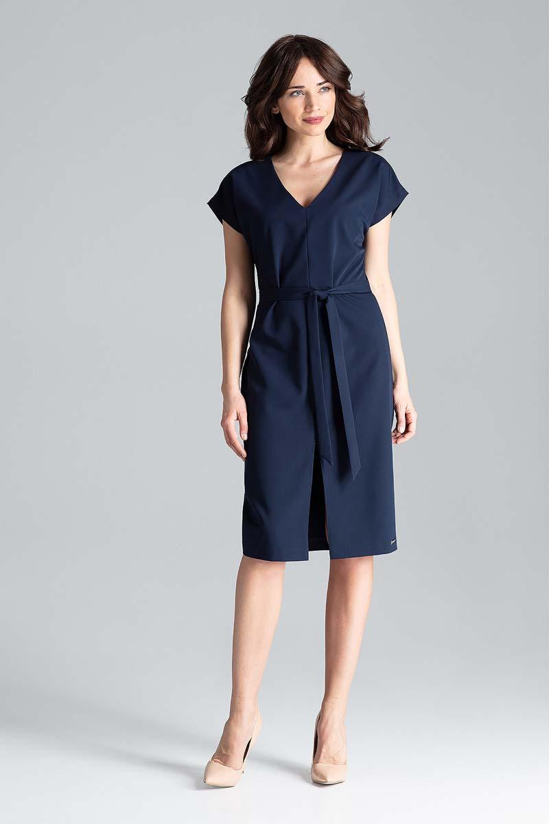Dark Blue Belted V-Neck Dress