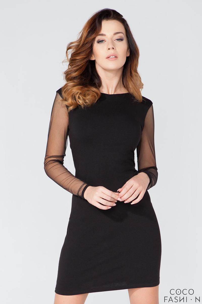 Black Party Mini Dress with Cut Out Back