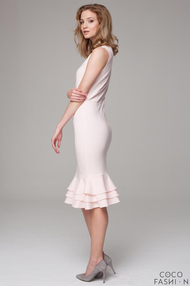 Powder Pink Coctail Midi Dress with Frills