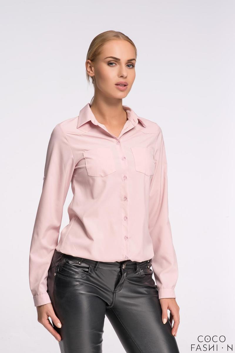 Light Pink Classic Shirt with Double Pockets