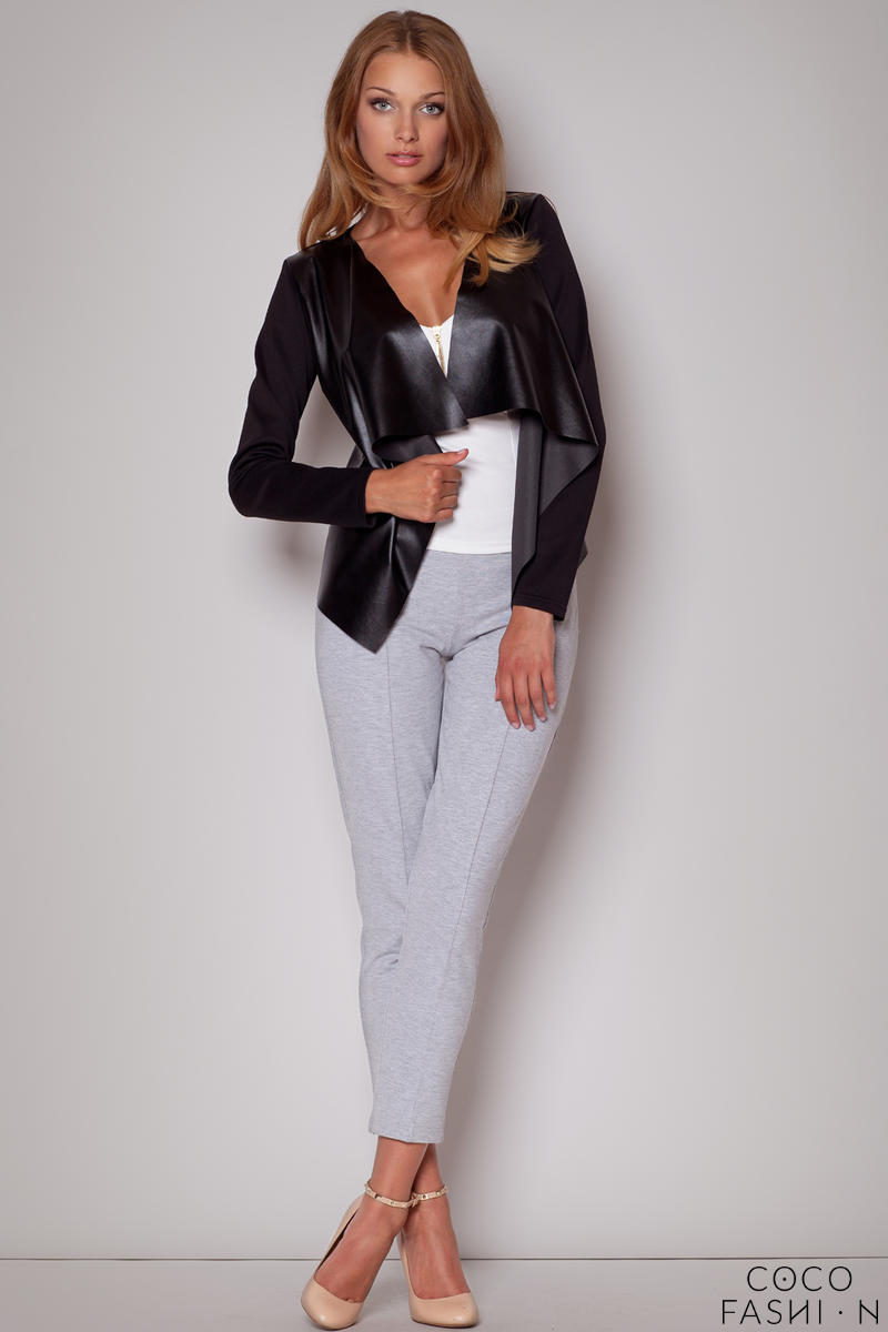 Peaked Shoulder Waterfall Black Jacket with Long Sleeves