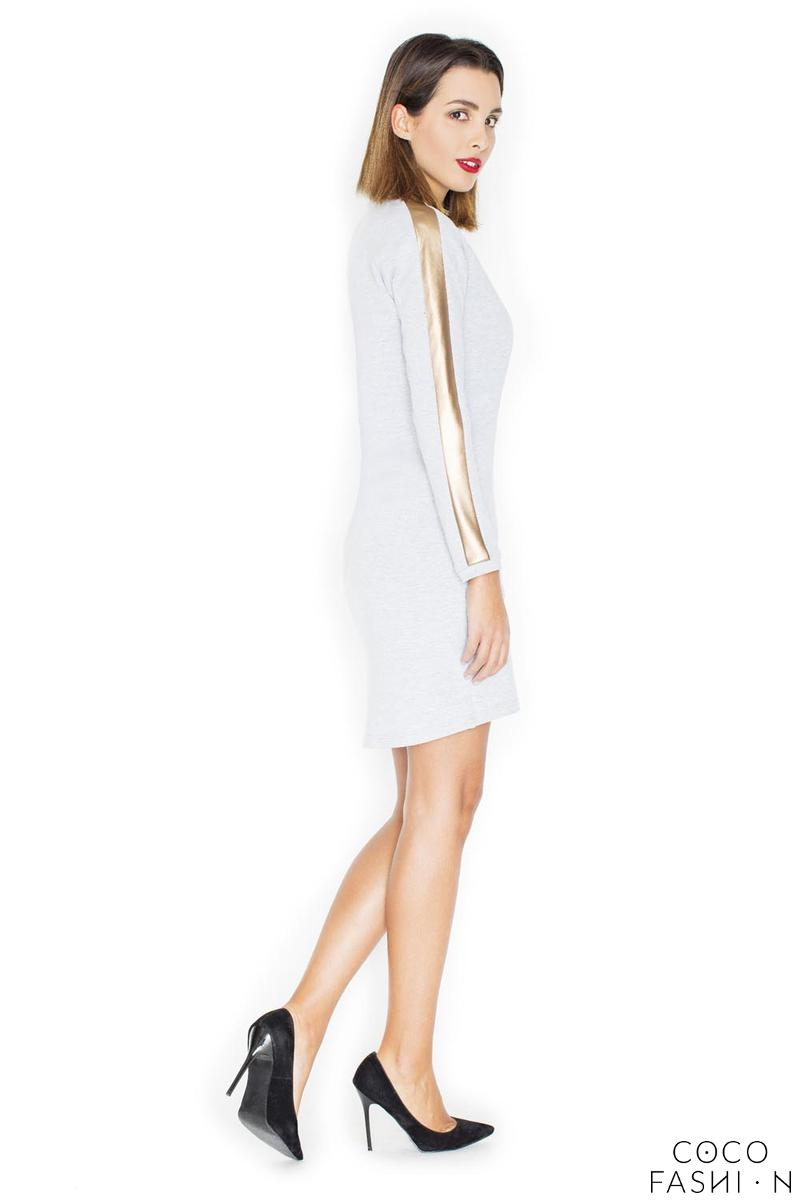 Light Grey Simple Dress with Golden Stripes on The Sleeves