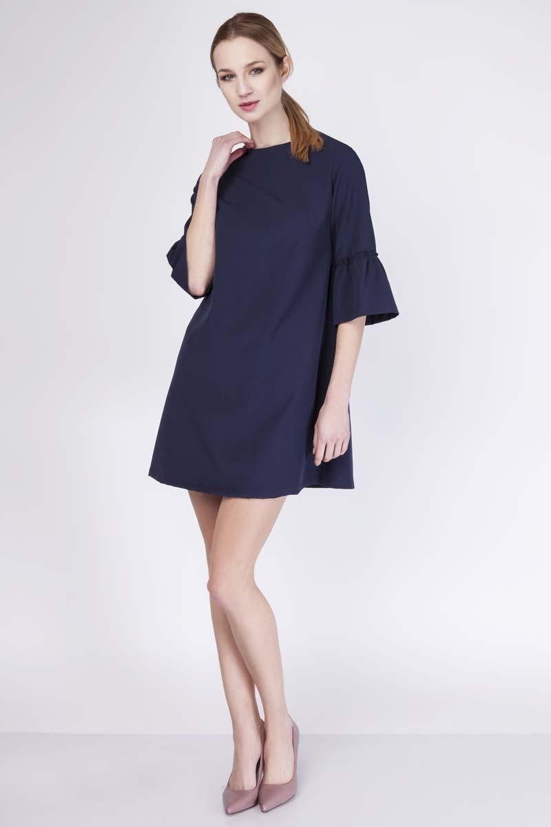 Dark Blue Mini Flared Dress with Long Sleeves