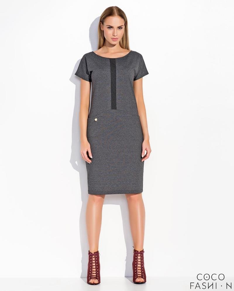 Dark Grey Short Sleeves Midi Dress