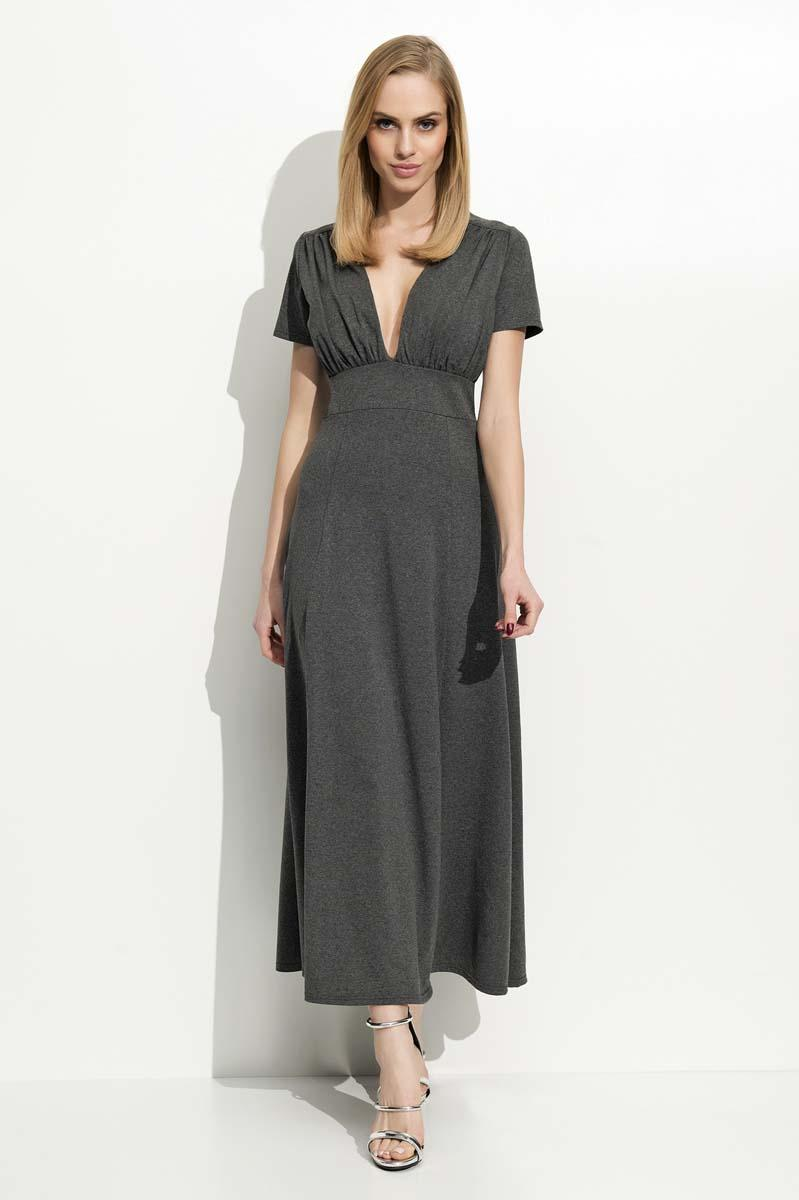 Dark Grey Maxi Long Deep Neckline Dress