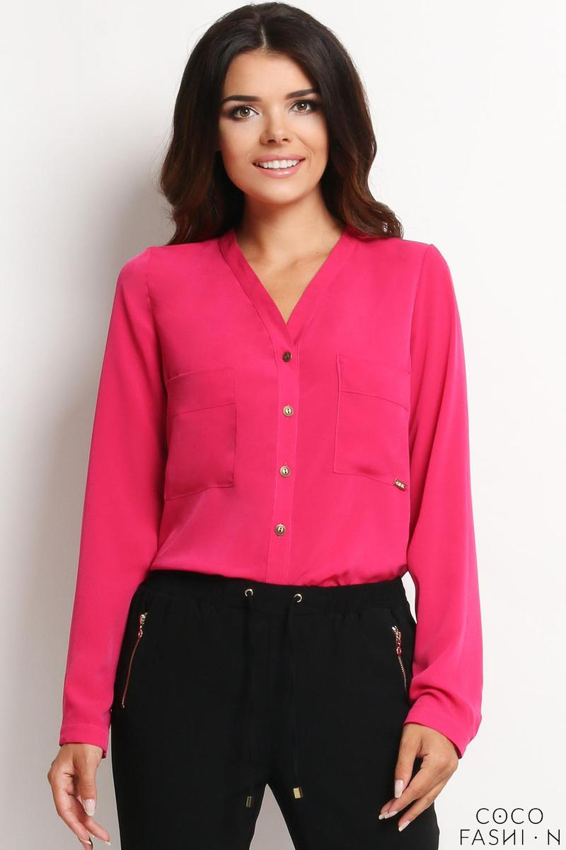 Pink Ladies Shirt with Chest Pockets