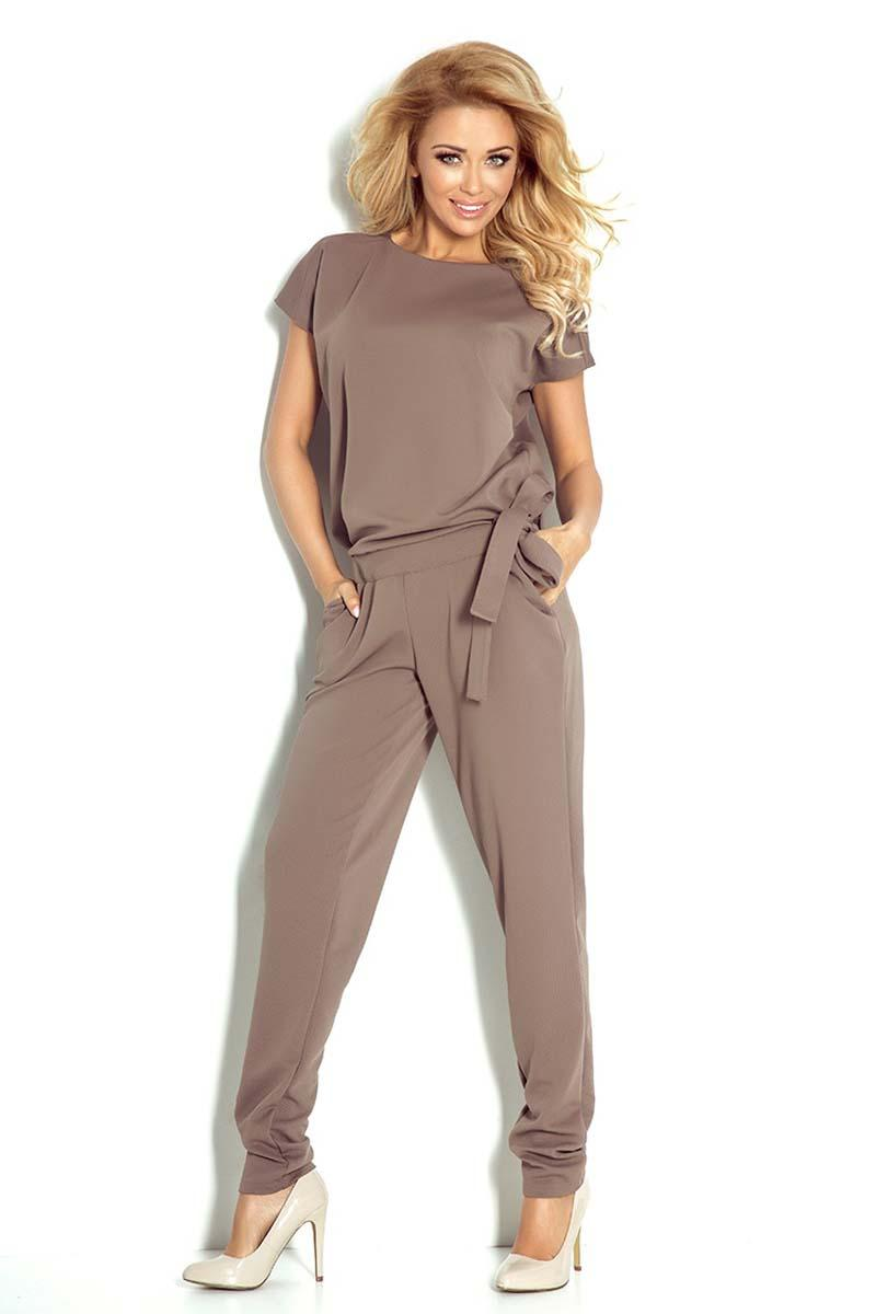 Brown Open Back Elegant Ladies Jumpsuit