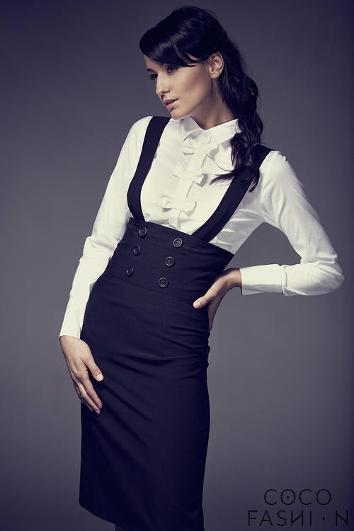 High Waisted Suspender Black Skirt with Button Details