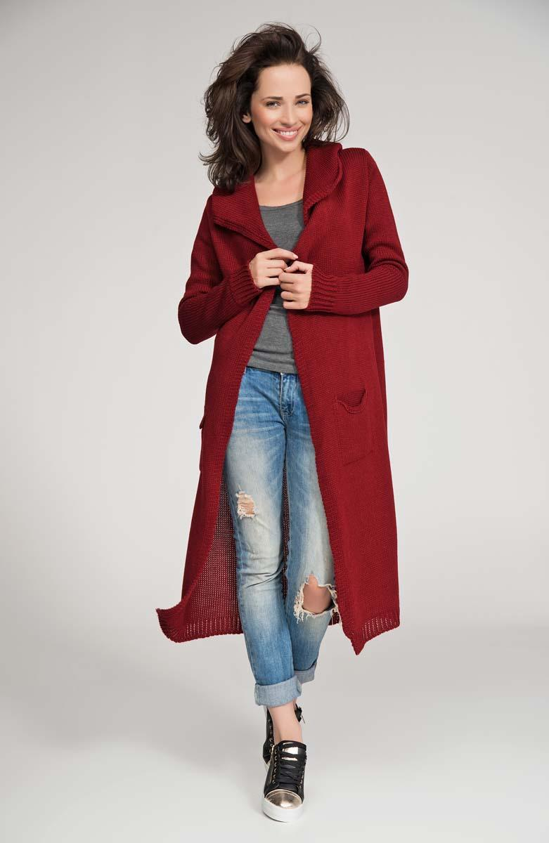 Dark Red Hooded Maxi Sweater