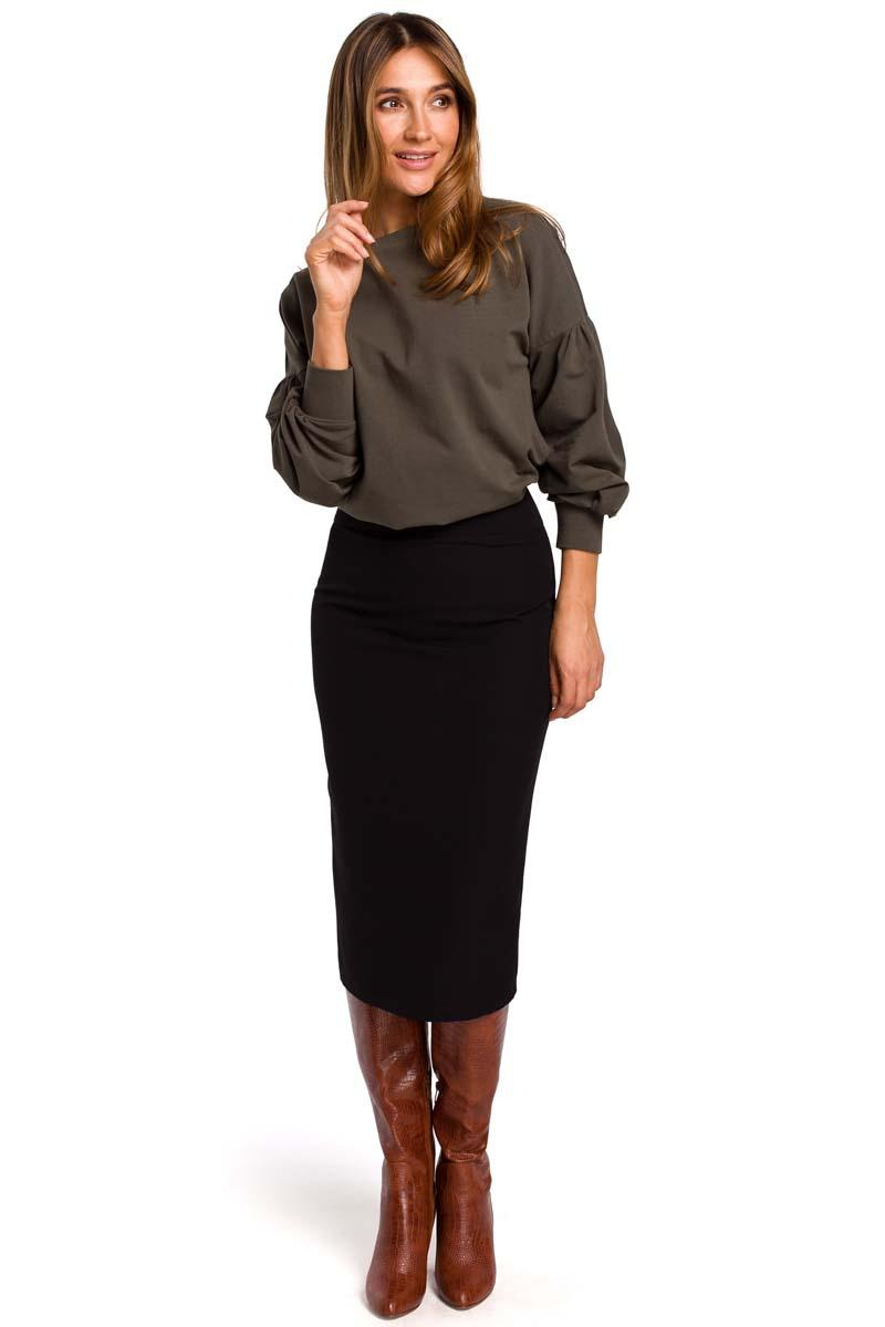 Black Pencil Skirt over the Knee with a cut belt
