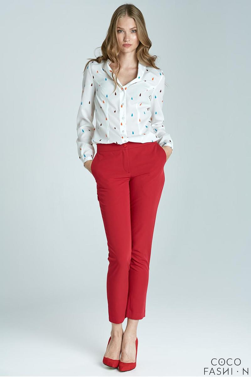 red-elegant-classic-business-style-slim-pants