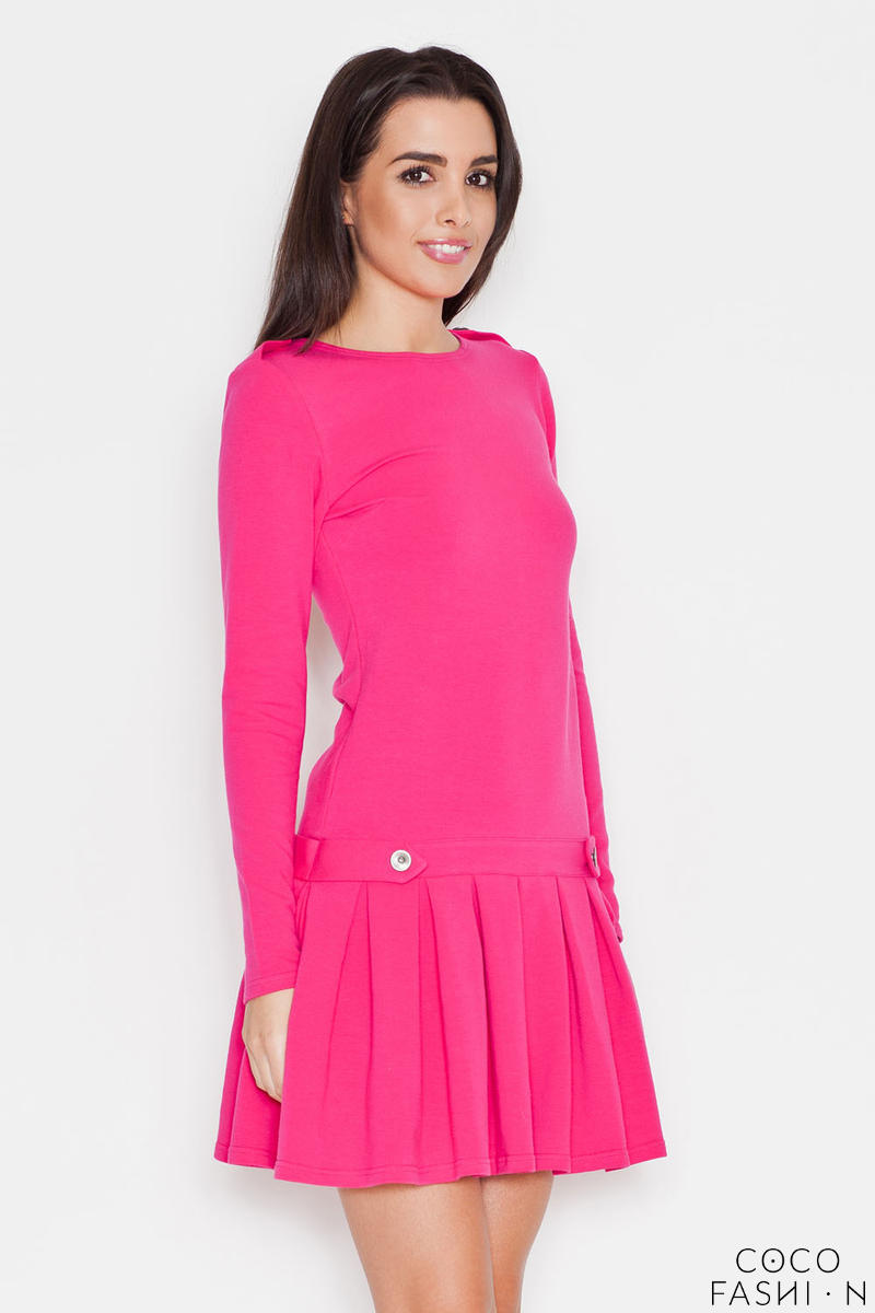 Pink Casual Long Sleeves Pleated Mini Dress от cocofashion